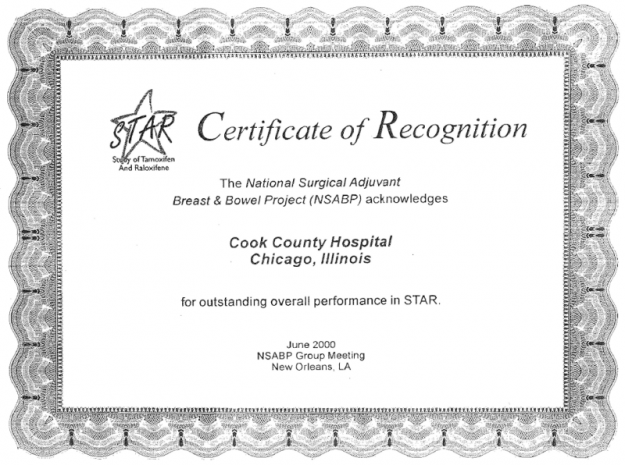 SHCC MBCCOP receives NSABP award for outstanding overall performance in STAR P2!