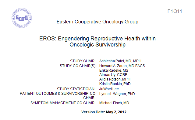 ECOG E1Q11 - EROS: Engendering Reproductive Health within Oncologic Survivorship