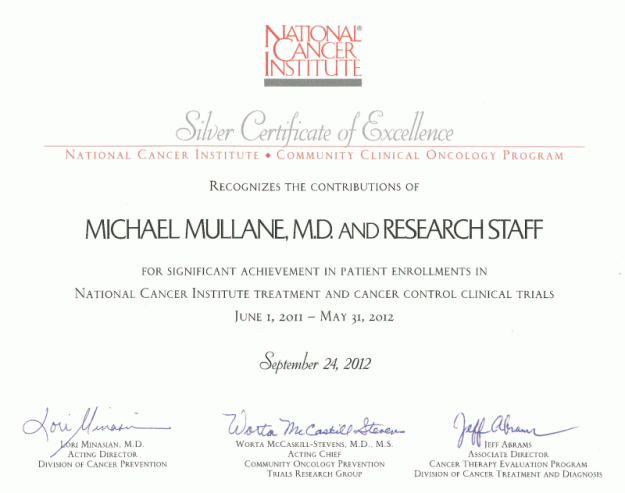 SHCC MBCCOP receives NCI award for outstanding accrual in 2012 - 3