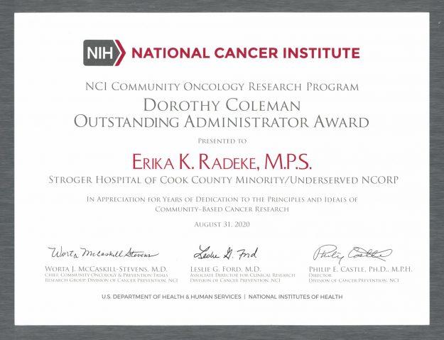 NCI Outstanding Administrator Award - 2020
